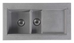 SAPHO - Dřez granitový vestavný s odkapávací plochou a vaničkou, 95,8x53,4 cm, šedá (GR1303)