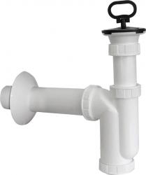 SAPHO - Dřezový sifon nerez výpust, zátka s uchem, odpad 50mm, bílá (CV1017)
