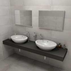 SAPHO - KIRA ceramica deska 200x50 cm, provedení límce R (KR200R)