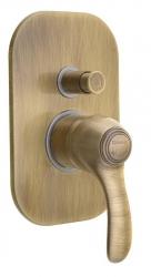 SAPHO - KIRKÉ podomítková sprchová baterie, 2 výstupy, bronz (KI42B) 2. jakost