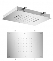 SAPHO - Stropní sprcha do podhledu se dvěma kaskádami, 560x400mm, leštěný nerez (MS333)