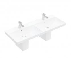 VILLEROY & BOCH - Avento Dvojumyvadlo nábytkové 1200x470 mm, s přepadem, 2 otvory pro baterii, CeramicPlus, alpská bílá (4A23CKR1)