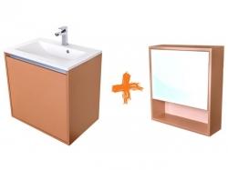 VÝPRODEJ - Amsterdam umyvadlová skříňka šíře 60, 1x šuplík, metallic +umyvadlo + galerka (CA.U1B.133.060UMG)