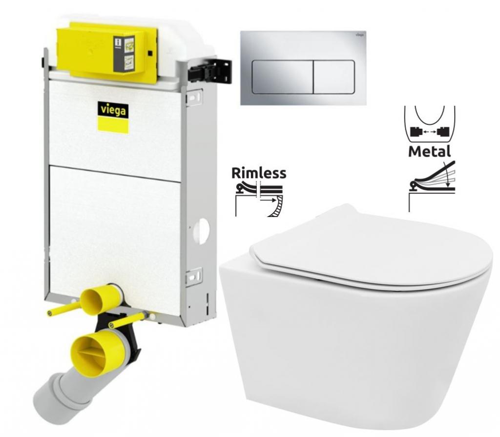 VIEGA Presvista modul PURE pro WC včetně tlačítka Life5 CHROM + WC REA TOMAS RIMFLESS  + SEDÁTKO (V771928 LIFE5CR TO1)